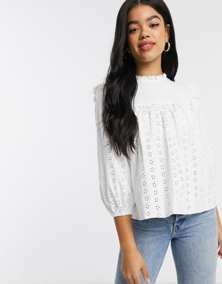 Asos DESIGN high neck swing broderie top with ruffle detail in white
