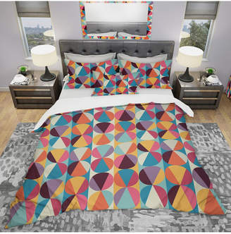 Designart 'Circles And Triangles' Modern Duvet Cover Set - Twin Bedding
