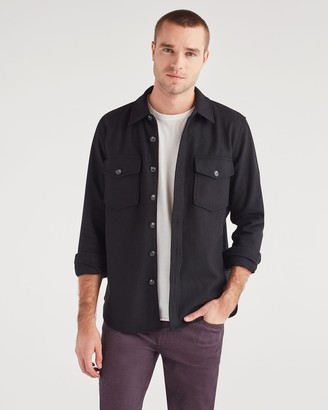 7 For All Mankind Melton Shirt Jacket in Black