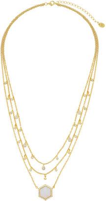 Sterling Forever 14K Over Silver Cz Necklace