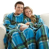 The Original Snuggie - Super Soft Fleece Blanket With Sleeves And Pockets - Blue Plaid