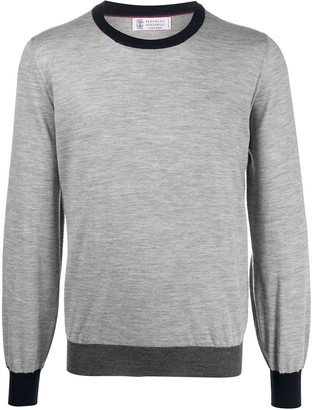 Brunello Cucinelli Long Sleeve Contrasting Trim Sweater
