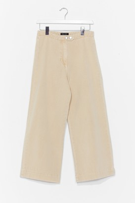 Nasty Gal Womens Wide-Leg to Differ Cropped Jeans - Beige - 8