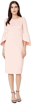 Badgley Mischka Tulip Sleeve Cocktail (Rosette) Women's Dress