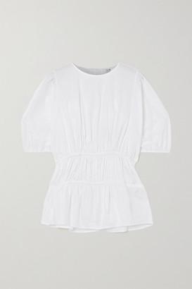 Victoria Victoria Beckham Gathered Cotton-poplin Top