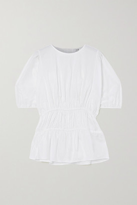 Victoria Victoria Beckham Gathered Cotton-poplin Top - White