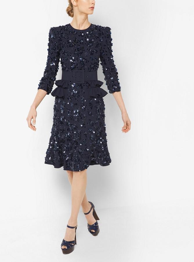 Michael Kors Floral-Sequined Crepe-Sable Peplum Dress