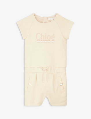 Chloé Ombre logo cotton playsuit 6-36 months