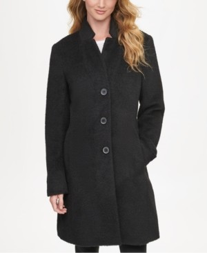 DKNY Petite Single-Breasted Walker Coat, Created for Macy's
