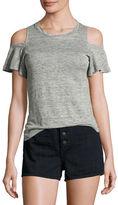 Rebecca Taylor Cold-Shoulder Linen Jersey T-Shirt