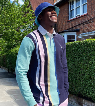 Polo Ralph Lauren x ASOS exclusive collab long sleeve rugby polo shirt in navy stripe
