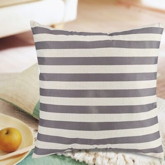 Longshore Tides Mae Stripe Linen Pillow Cover Throw Pillow Color: Gray