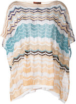 M Missoni zig-zag knitted poncho jumper - women - Cotton/Viscose/Polyester - One Size