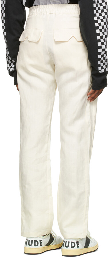 Thumbnail for your product : Rhude Off-White Silk Wide Leg Trousers