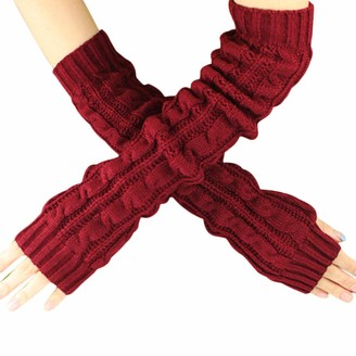 TIFIY Women Arm Gloves Warm Long Cable Knit Fingerless Gloves Christmas Clearance Girl's Wrist Arm Hand Warmer Mittens Fashion Solid Knit Mittens Half Finger Arm Gloves Christmas Gift Ladies Girls