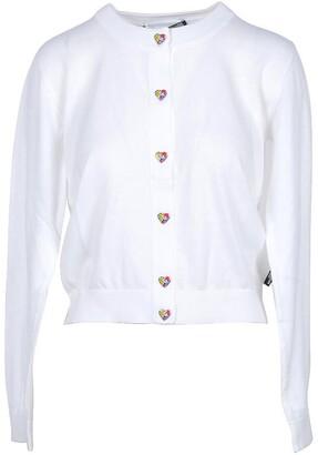 Love Moschino White Cotton Women's Sweater w/Hearts