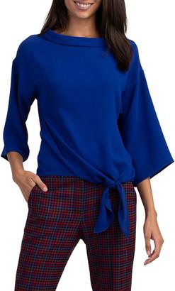 Trina Turk Garnet 3/4-Sleeve Tie-Hem Top