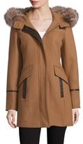 Trina Turk Riley Fox Fur-Trim Duffel Coat