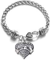 Inspired Silver Silver Maid of Honor Pave Heart Bracelet Silver Plated Lobster Clasp Clear Crystal Charm