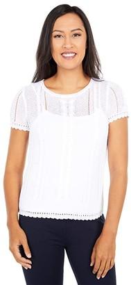 Lauren Ralph Lauren Cable Knit Linen Blend Sweater (White) Women's Clothing