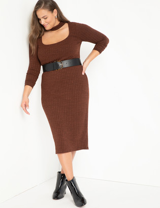 ELOQUII Ribbed Midi Dress With Neck Detail