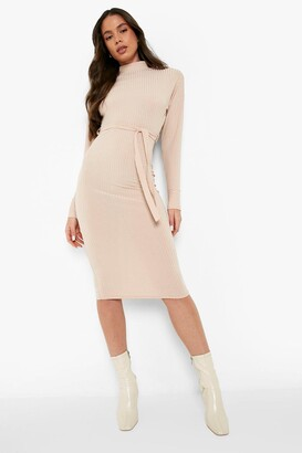 boohoo High Neck Rib Belted Midi Dress