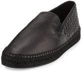 Bottega Veneta Men's Leather Intrecciato Espadrille Flat, Black