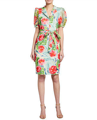 Badgley Mischka Palm Flower Printed Sheath Dress
