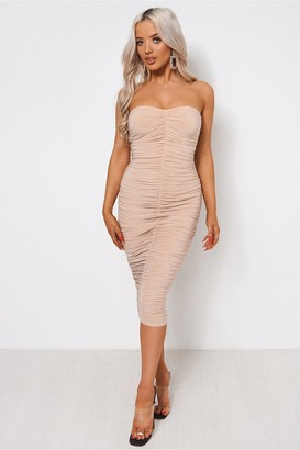 The Fashion Bible Lois Champagne Ruched Strapless Bodycon Dress