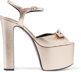 Saint Laurent Bow-embellished Metallic Textured-leather Platform Sandals - Platinum