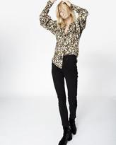 Nicole Miller Leopard Puff Sleeve Blouse