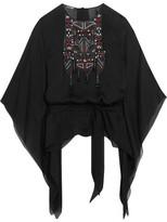 Roberto Cavalli Embellished Silk-chiffon Kaftan - Black