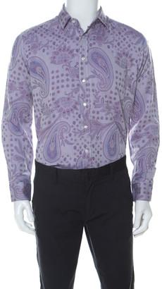 Etro Mauve Paisley Embroidered Cotton Long Sleeve Button Front Shirt L