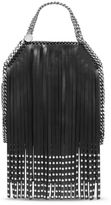 Stella McCartney black falabella studded fringed mini tote