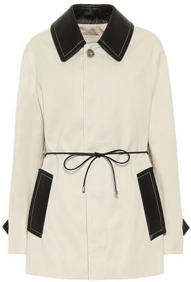 Tod's Leather-trimmed gabardine coat
