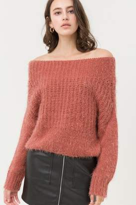 Love Tree Soft Rust Off Shoulder Sweater