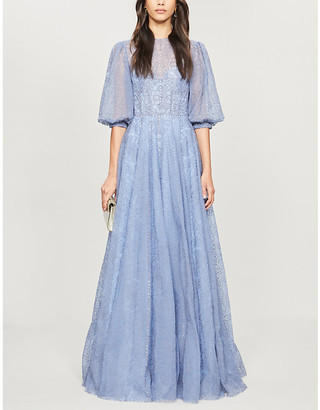Costarellos Floral-embroidered tulle maxi dress