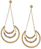 Italian Gold Beaded Trapeze Drop Hoop Earrings in 14k Yellow, White and Rose Gold