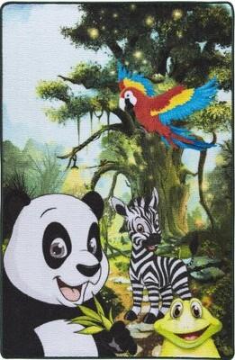"Zoomie Kids Hamerton Animal Print Dhurrie Black Area Rug Rug Size: Rectangle 4'4"" x 6'3"""