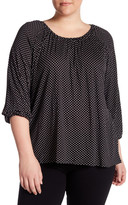 Chelsea & Theodore Printed 3/4 Sleeve Shirt (Plus Size)