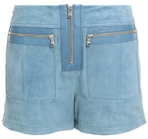 Victoria Victoria Beckham Leather-trimmed Zip-detailed Suede Shorts