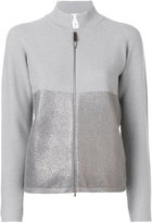 Fabiana Filippi metallic panel zip cardigan