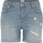 River Island Womens Blue wash distressed denim boyfriend shorts