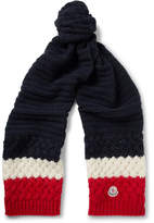 Moncler Colour-block Knitted Scarf - Navy