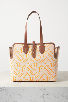 Burberry Leather-trimmed Printed Canvas Tote - Tan