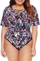 Boutique + + 3/4 Sleeve Bodysuit-Plus