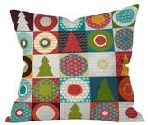 "DENY Designs Red Geometric Sharon Turner Geo Christmas Throw Pillow (16""x16"