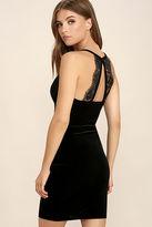 LuLu*s Sultry Summoning Black Velvet Bodycon Dress