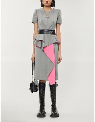 Alexander McQueen Asymmetric peplum-trim wool midi dress
