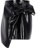 River Island Girls Black vinyl bow mini skirt